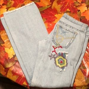 Flower Embroidered Bebe Jeans!